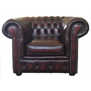 Chesterfield Antique Oxblood Genuine Leather Club Chair