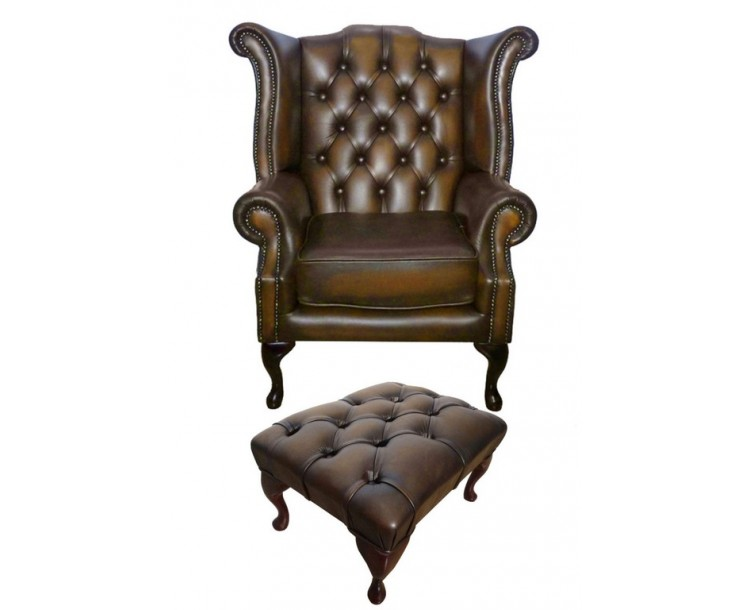 Chesterfield Antique Brown Queen Anne Armchair with Footstool