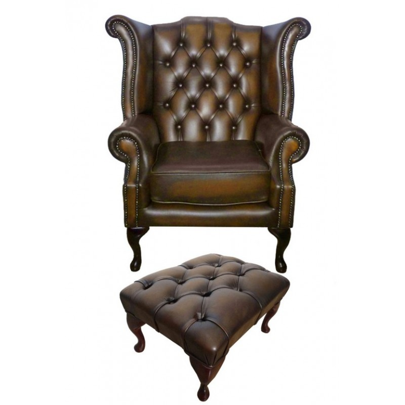 chesterfield antique brown queen anne armchair with footstool. Black Bedroom Furniture Sets. Home Design Ideas