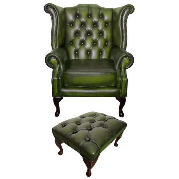 Chesterfield Antique Green Genuine Leather Queen Anne Armchair with Footstool