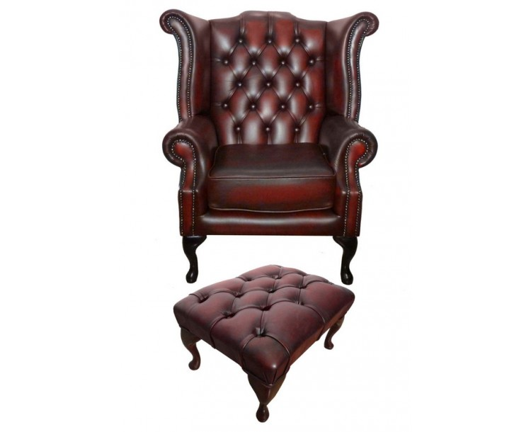 Chesterfield Antique Oxblood Red Genuine Leather Queen Anne Armchair with Footstool