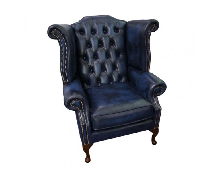 Chesterfield Antique Blue Genuine Leather Queen Anne Armchair