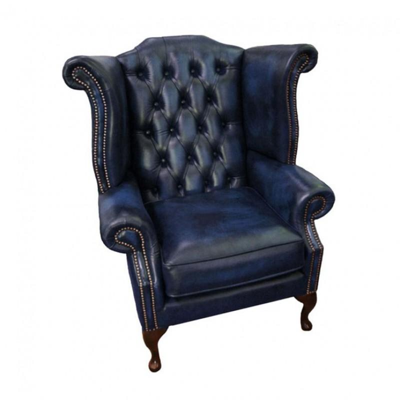 Phenomenal Chesterfield Antique Blue Genuine Leather Queen Anne Armchair Inzonedesignstudio Interior Chair Design Inzonedesignstudiocom