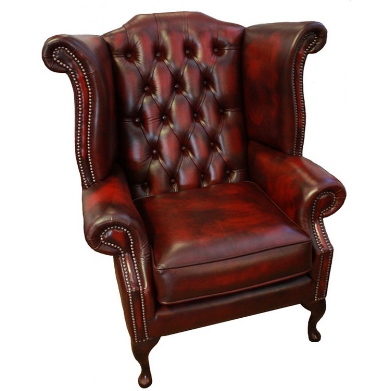 Chesterfield Red Real Leather Queen Anne Armchair w/ Footstool