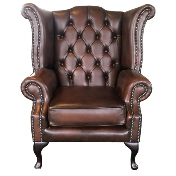 Chesterfield Antique Brown Genuine Leather Queen Anne Armchair