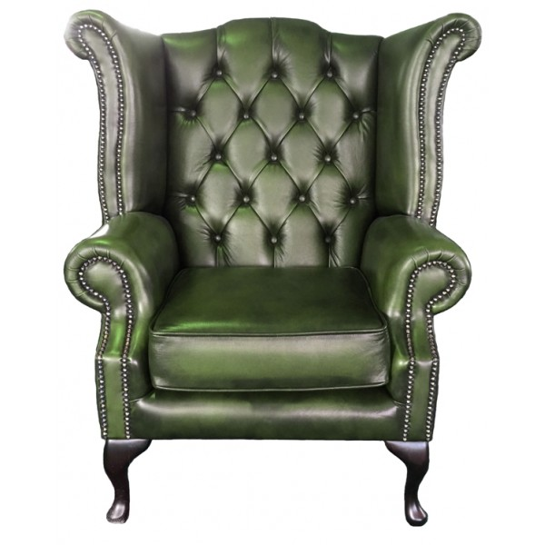 Chesterfield Antique Green Genuine Leather Queen Anne Armchair