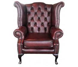 Chesterfield Antique Oxblood Red Genuine Leather Queen Anne Armchair