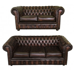 Chesterfield Antique Brown Genuine Leather Three and Two Seater Room Set
