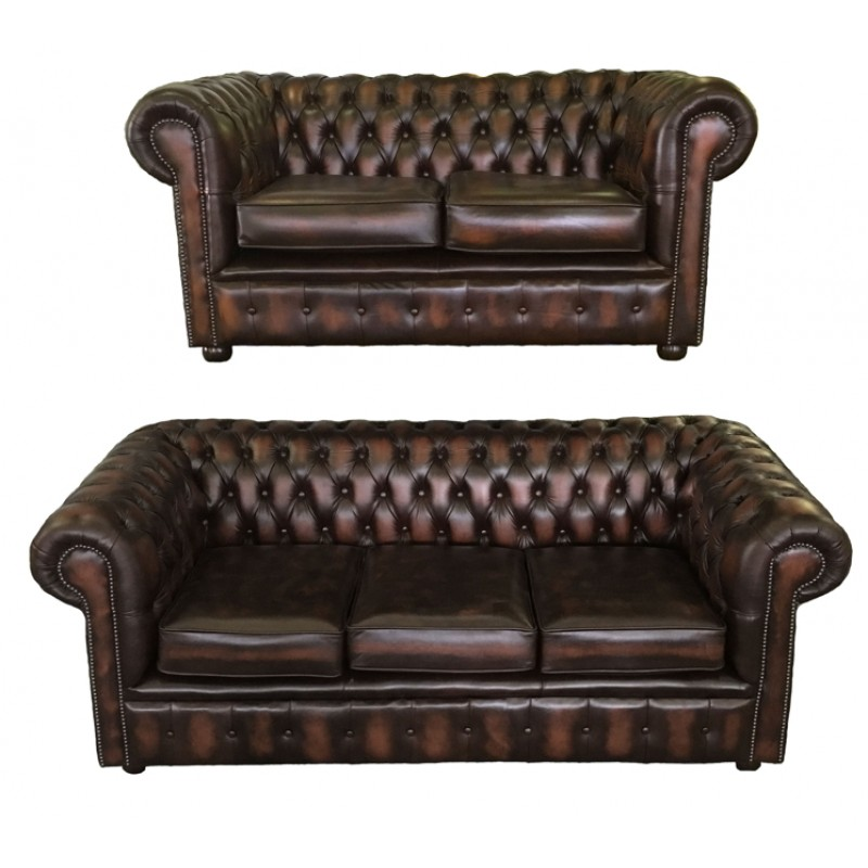 chesterfield brown real leather 3 2 seater room set. Black Bedroom Furniture Sets. Home Design Ideas