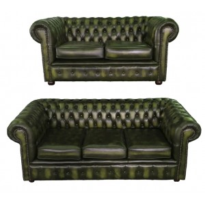 Chesterfield  Antique Green Genuine Leather Three and Two Seater Room Set