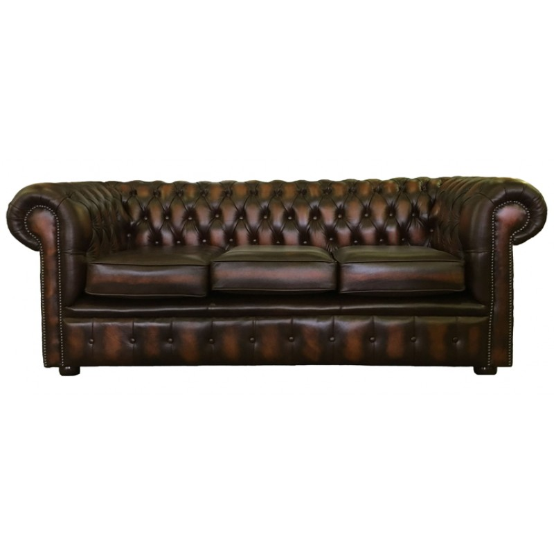 Chesterfield antique brown genuine leather three seater for Sofa bed 3 seater leather