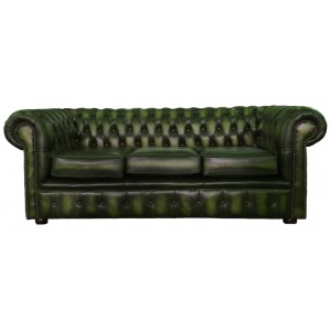 Chesterfield Antique Green Genuine Leather Three Seater Sofa