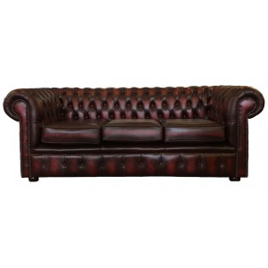Chesterfield Antique Oxblood Red Genuine Leather Three Seater Sofa