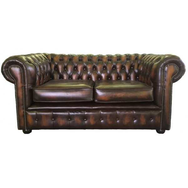 Chesterfield Antique Brown Genuine Leather Two Seater Sofa