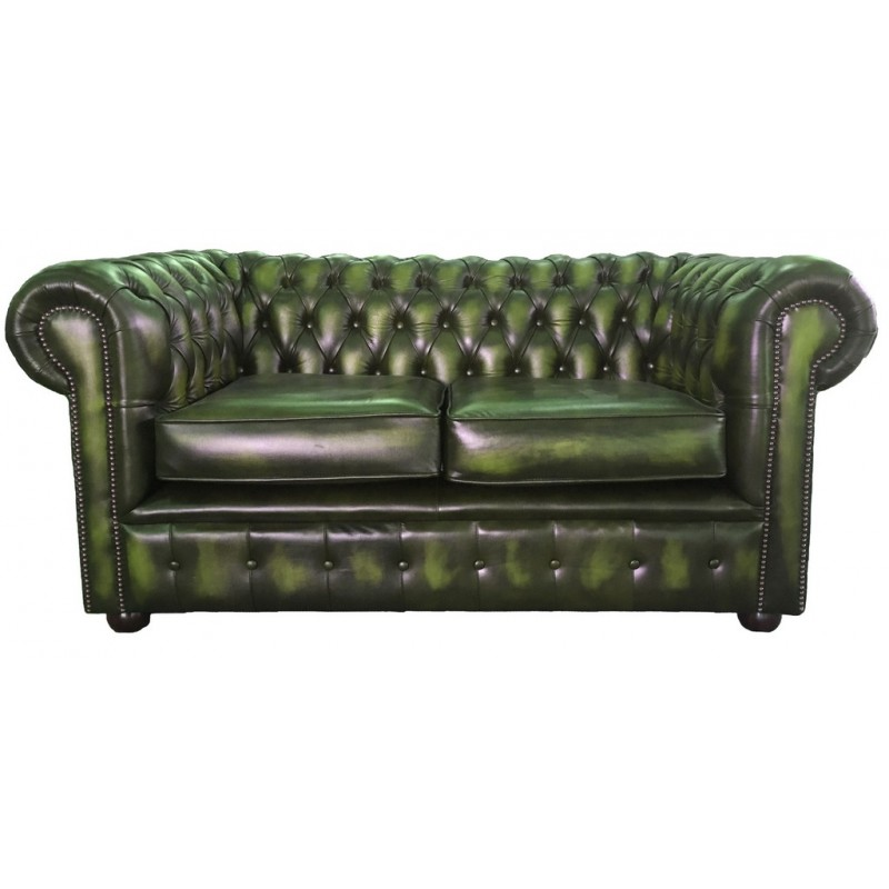 Chesterfield Antique Green Genuine Leather Two Seater Sofa