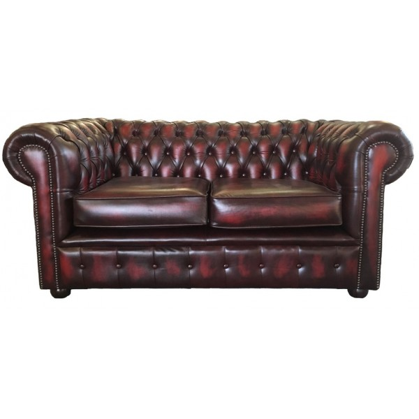 Chesterfield Antique Oxblood Red Genuine Leather Two Seater Sofa