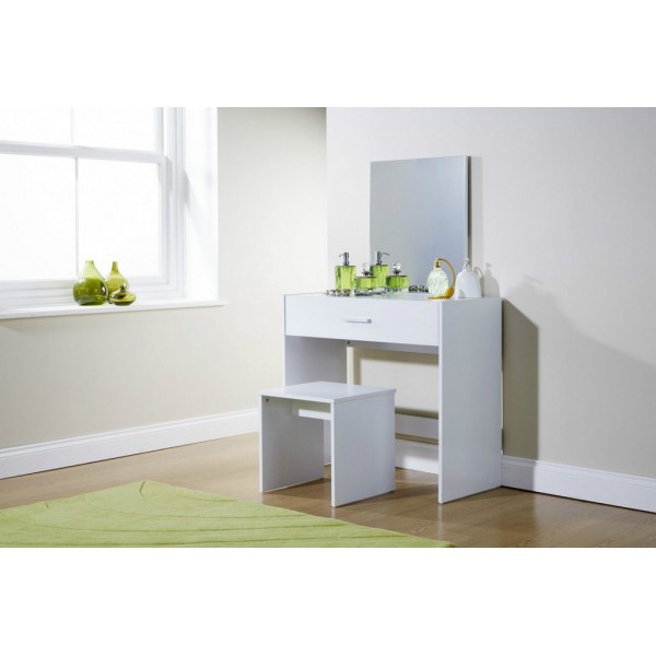 New Simple Makeup Julia White Dressing Table Set Desk w/ Stool Mirror Dresser