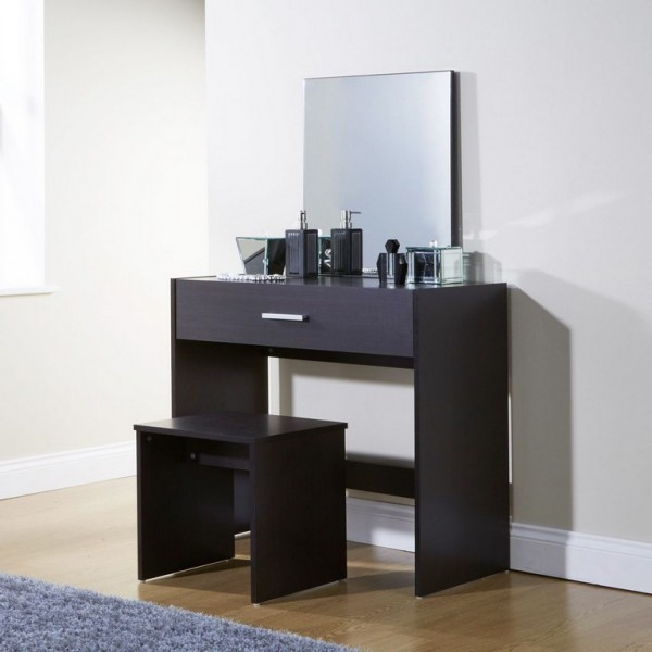 New Simple Makeup Julia Espresso Dressing Table Set Desk w/ Stool Mirror Dresser