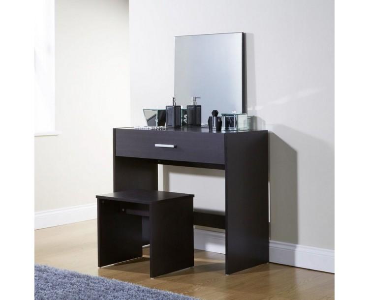 New Simple Makeup Julia Espresso Dressing Table Set Desk w/ Stool Mirror Dresser