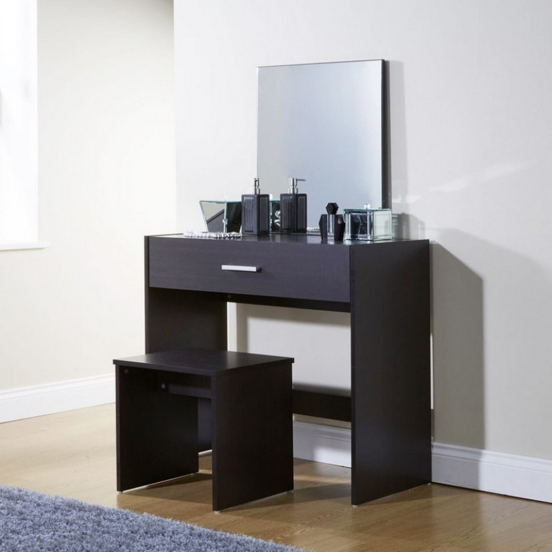 New Simple Makeup Julia Espresso Dressing Table Set Desk W Stool Mirror Dresser