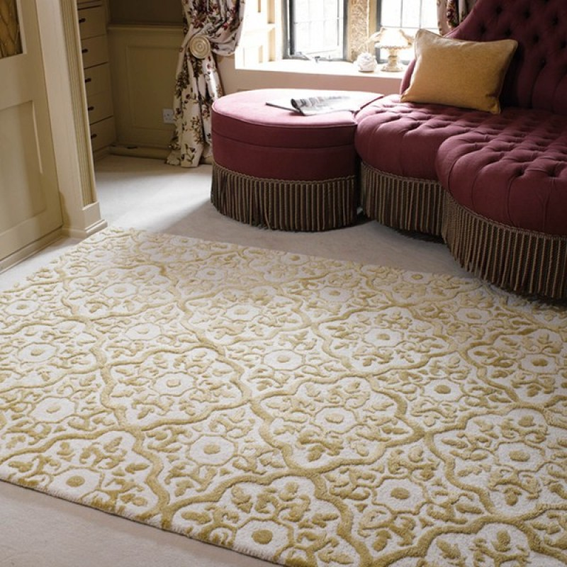Mayfair Knightsbridge Gold Wool Rug Available In 2 Sizes