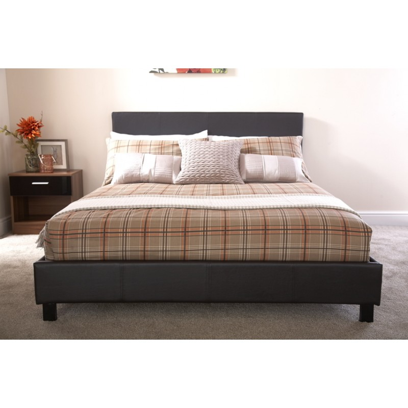 Berlin Brown Faux Leather Bed Frame