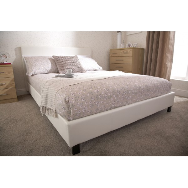 Berlin White Faux Leather Bed Frame