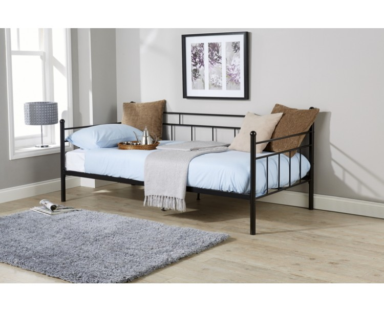 French Style Arizona Black Day Bed Metal Frame 3ft Single