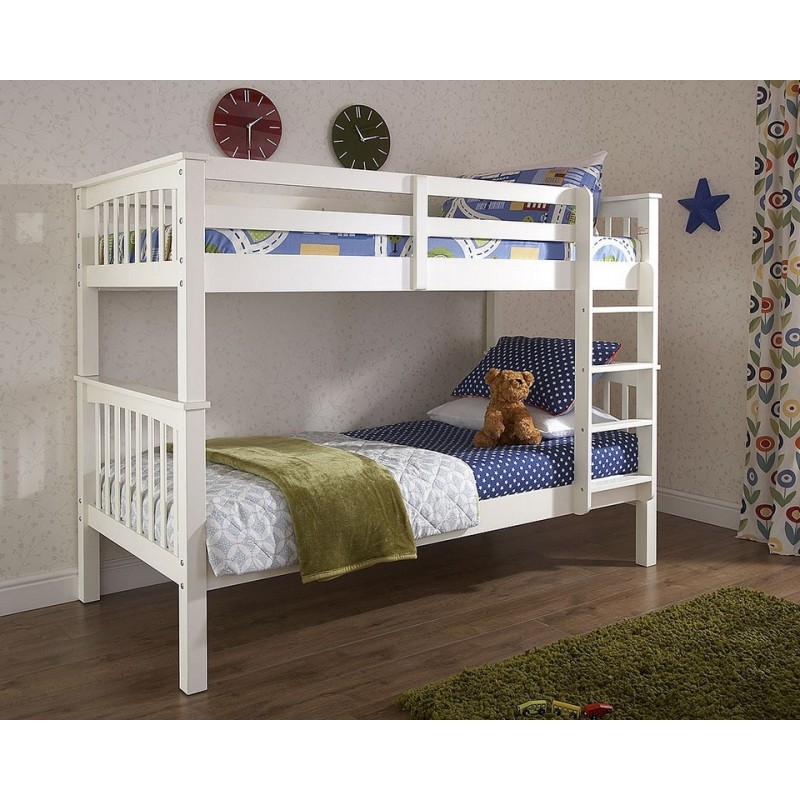 Novaro children 39 s white solid pine bunk bed Unfinished childrens bedroom furniture