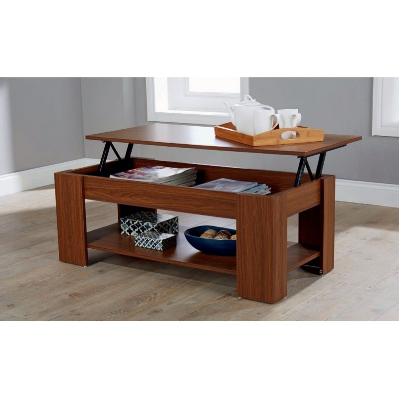 Lift up storage coffee table walnut finish for Coffee tables that lift up