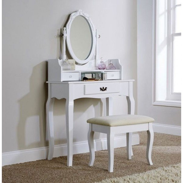 Antique Lumberton Dressing Table White with Matching Stool