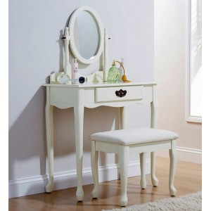 Traditional Queen Anne Style Dressing Table Ivory with Matching Stool