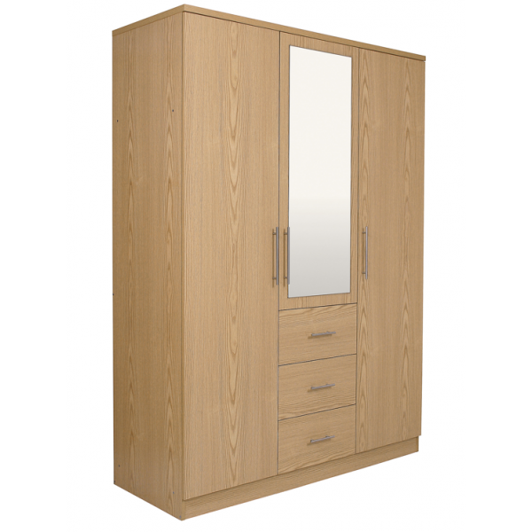 Orlando Oak Three Door Mirrored Wardrobe with Drawers