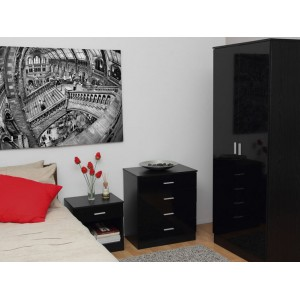 Ottawa Black High Gloss and Black Oak Veneer Three Piece Bedroom Set