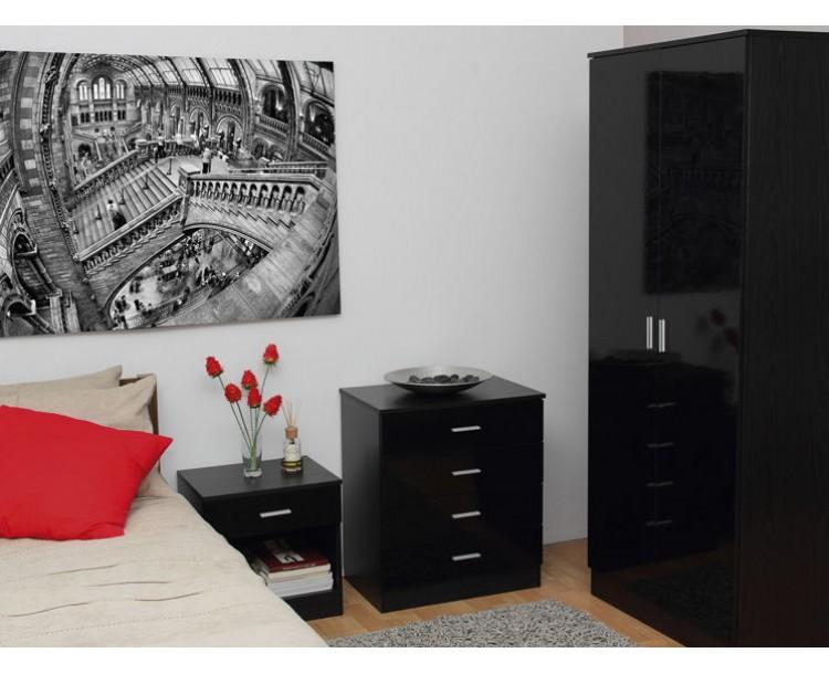 Ottawa Black High Gloss and Black Oak Veneer Three Piece Bedroom Set