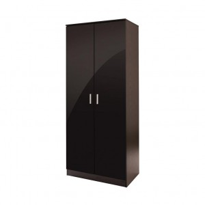 Ottawa Double Wardrobe in Black High Gloss and Black Oak Frame