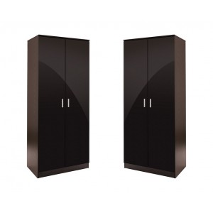 Set of 2x 2 Door Double Wardrobe Black High Gloss Black Oak Frame