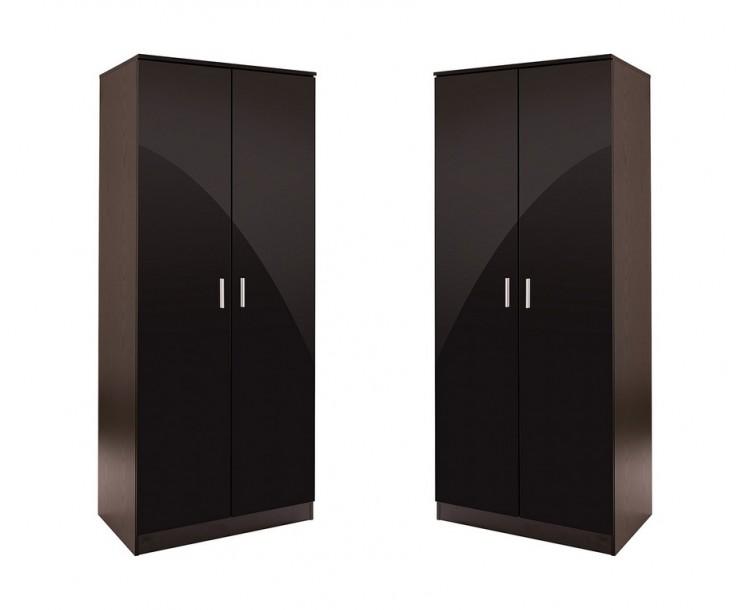 Set of 2x 2 Door Double Wardrobe Black High Gloss Black Oak Frame