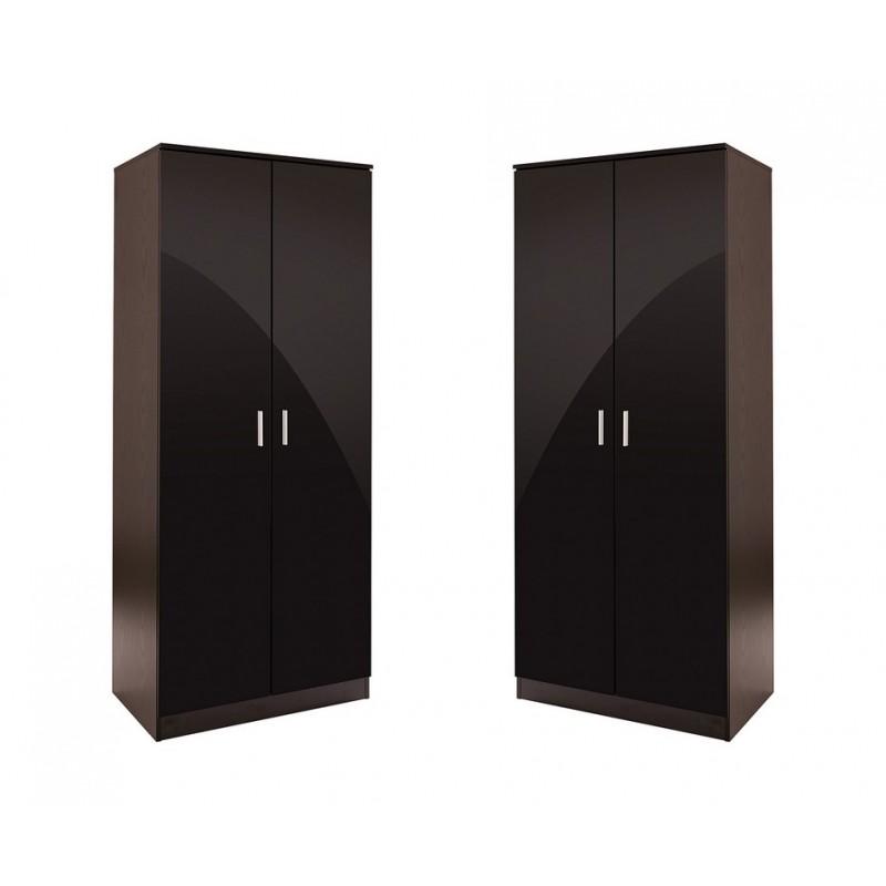 OTTAWA 2 DOOR WARDROBE HIGH GLOSS BLACK /& BLACK FRAME STORAGE BEDROOM FURNITURE