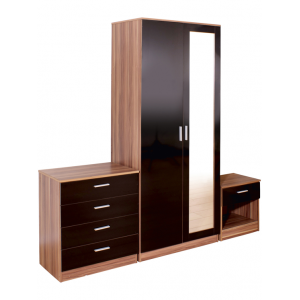 Ottawa Mirrored Black High Gloss/Walnut Veneer Three Piece Bedroom Set