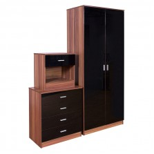 Ottawa Black High Gloss and Walnut Veneer Three Piece Bedroom Set