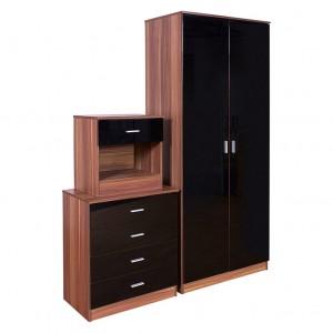 Ottawa Black High Gloss and Walnut Veneer Three Piece Bedroom Set