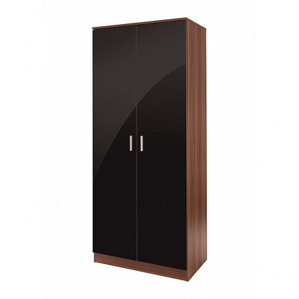 Ottawa Double Wardrobe in Black High Gloss and Walnut Effect Finish