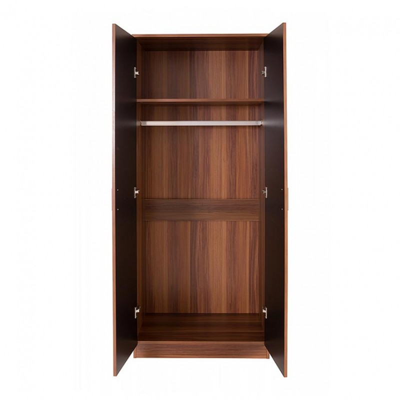 Black gloss and walnut effect frame ottawa double wardrobe - Walnut effect living room furniture ...