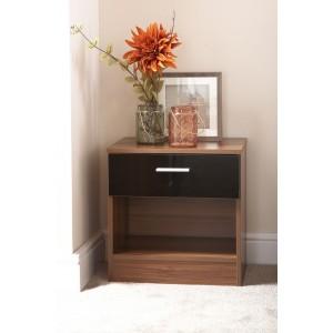 Ottawa Bedside Cabinet Black Gloss and Walnut Frame
