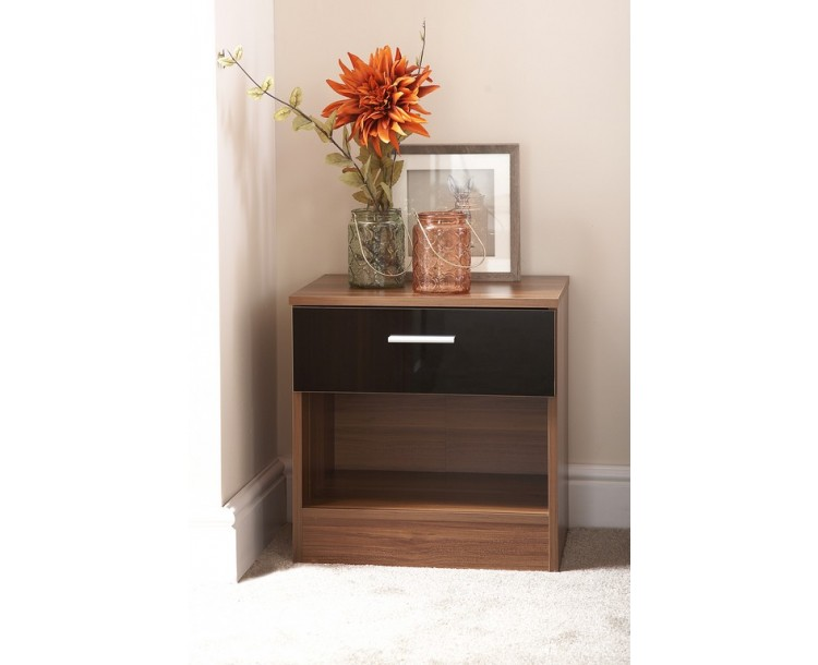 Ottawa Bedside Cabinet in Black Gloss and Walnut Frame