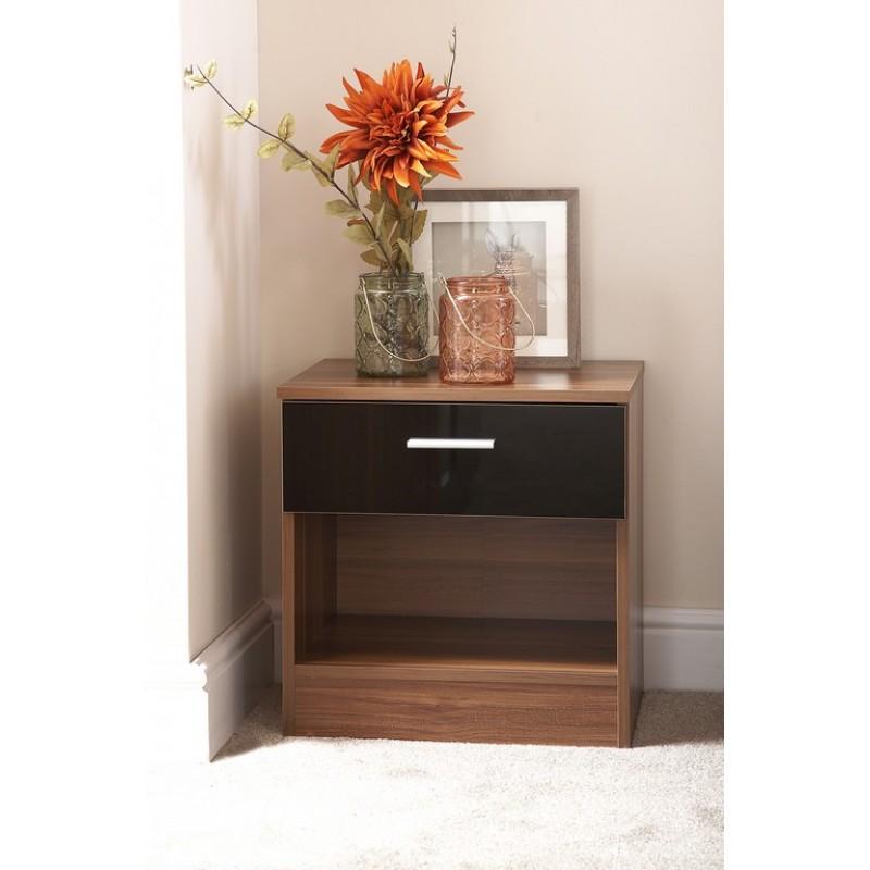 Black Gloss Front And Walnut Frame Ottawa Bedside Cabinet