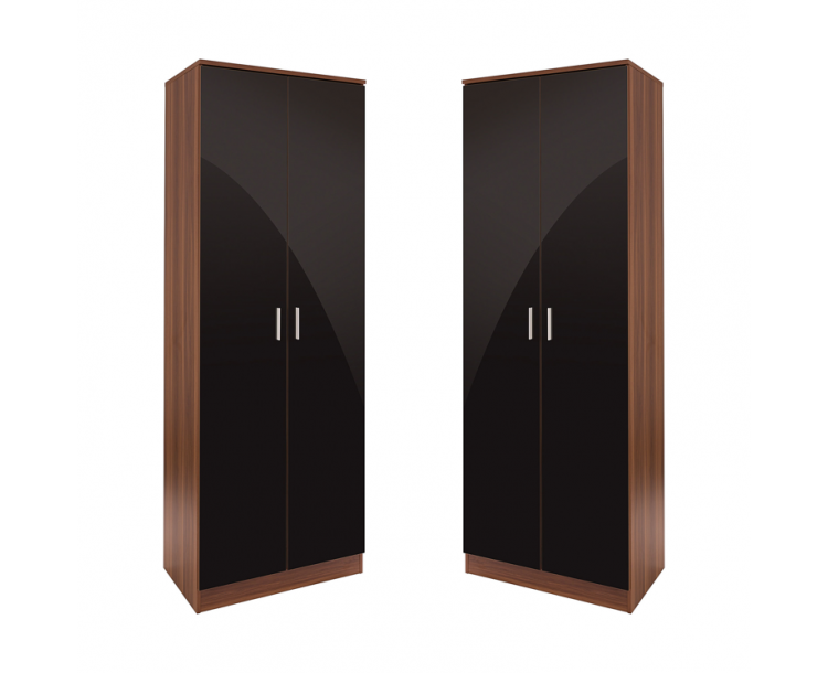 Set of 2x 2 Door Double Wardrobe Black High Gloss / Walnut Frame