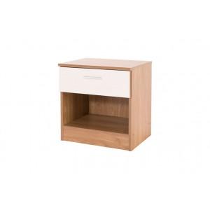 Ottawa Bedside Cabinet White Gloss and Oak Frame