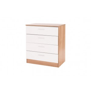 Ottawa Chest of Four Drawers in White Gloss and Oak Frame